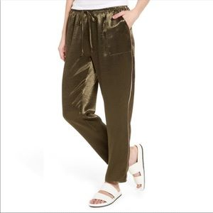 Love, Fire Satin Track Pants Green Medium